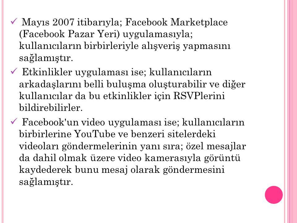 Mayıs 2007 itibarıyla; Facebook Marketplace (Facebook Pazar Yeri) uygulamasıyla; kullanıcıların birbirleriyle alışveriş yapmasını sağlamıştır. Etkinli