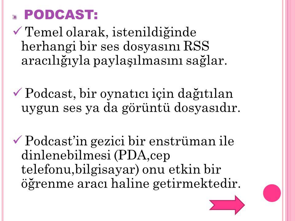 PODCAST: Temel olarak, istenildiğinde herhangi bir ses dosyasını RSS aracılığıyla paylaşılmasını sağlar. Podcast, bir oynatıcı için dağıtılan uygun se