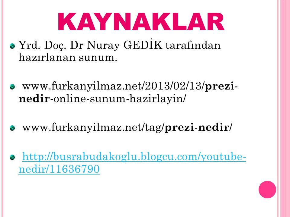 KAYNAKLAR Yrd. Doç. Dr Nuray GEDİK tarafından hazırlanan sunum. www.furkanyilmaz.net/2013/02/13/ prezi - nedir -online-sunum-hazirlayin/  www.furkany