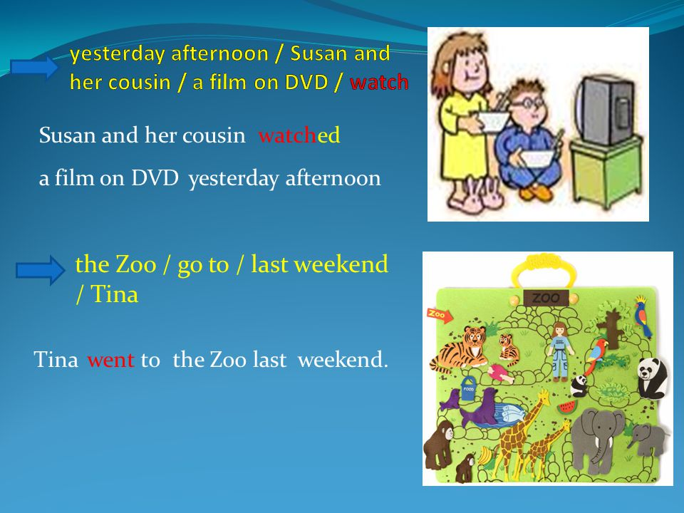 the Zoo / go to / last weekend / Tina Susan and her cousinwatched a film on DVDyesterday afternoon Tinawent tothe Zoolast weekend.