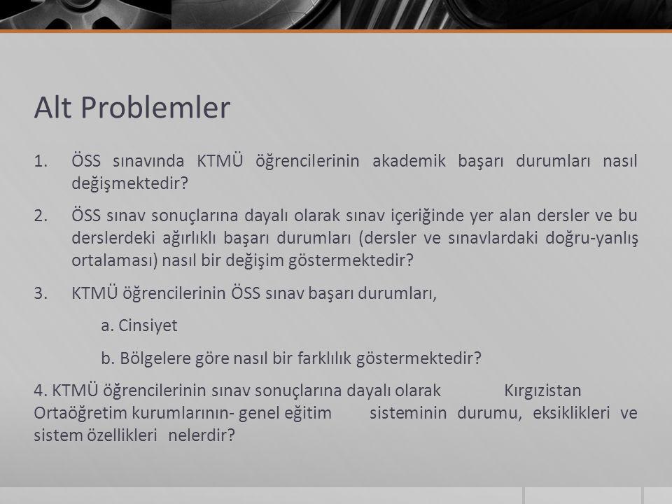 Alt Problemler 1.ÖSS sınavında KTMÜ öğrencilerinin akademik başarı durumları nasıl değişmektedir? 2.ÖSS sınav sonuçlarına dayalı olarak sınav içeriğin