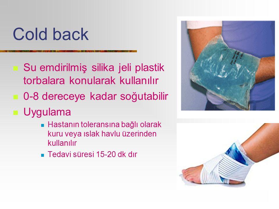 Cold back Su emdirilmiş silika jeli plastik torbalara konularak kullanılır 0-8 dereceye kadar soğutabilir Uygulama Hastanın toleransına bağlı olarak k