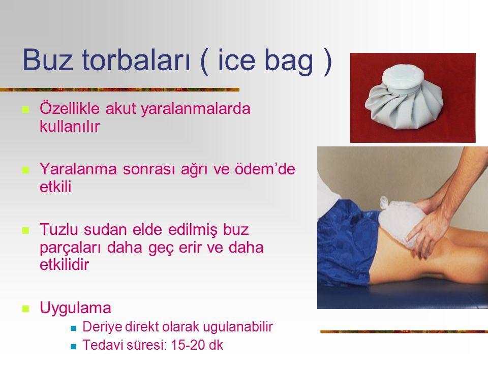 Buz torbaları ( ice bag ) Özellikle akut yaralanmalarda kullanılır Yaralanma sonrası ağrı ve ödem'de etkili Tuzlu sudan elde edilmiş buz parçaları dah