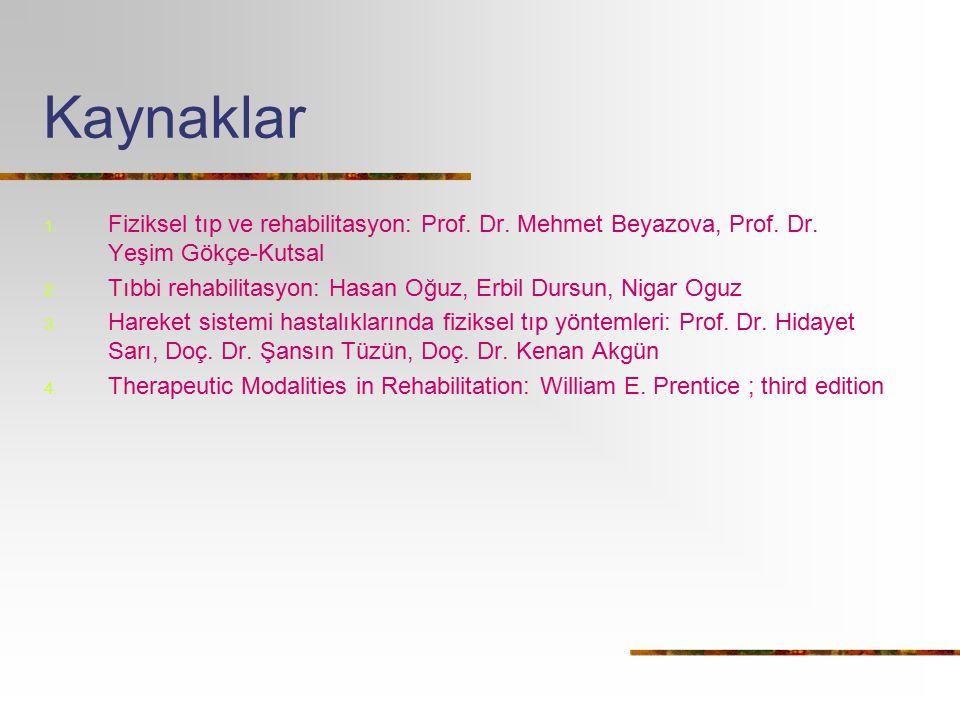 Kaynaklar 1. Fiziksel tıp ve rehabilitasyon: Prof. Dr. Mehmet Beyazova, Prof. Dr. Yeşim Gökçe-Kutsal 2. Tıbbi rehabilitasyon: Hasan Oğuz, Erbil Dursun