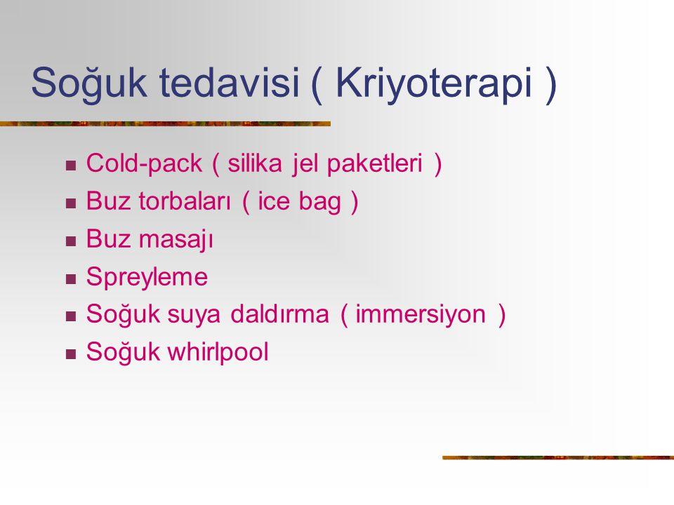 Soğuk tedavisi ( Kriyoterapi ) Cold-pack ( silika jel paketleri ) Buz torbaları ( ice bag ) Buz masajı Spreyleme Soğuk suya daldırma ( immersiyon ) So