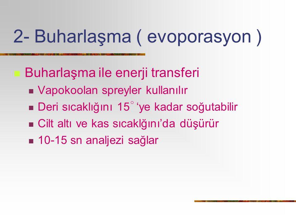 2- Buharlaşma ( evoporasyon ) Buharlaşma ile enerji transferi Vapokoolan spreyler kullanılır Deri sıcaklığını 15 'ye kadar soğutabilir Cilt altı ve ka