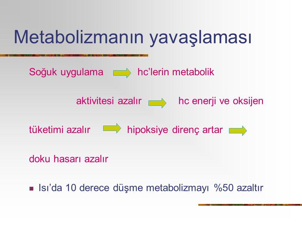 Metabolizmanın yavaşlaması Soğuk uygulama hc'lerin metabolik aktivitesi azalır hc enerji ve oksijen tüketimi azalır hipoksiye direnç artar doku hasarı