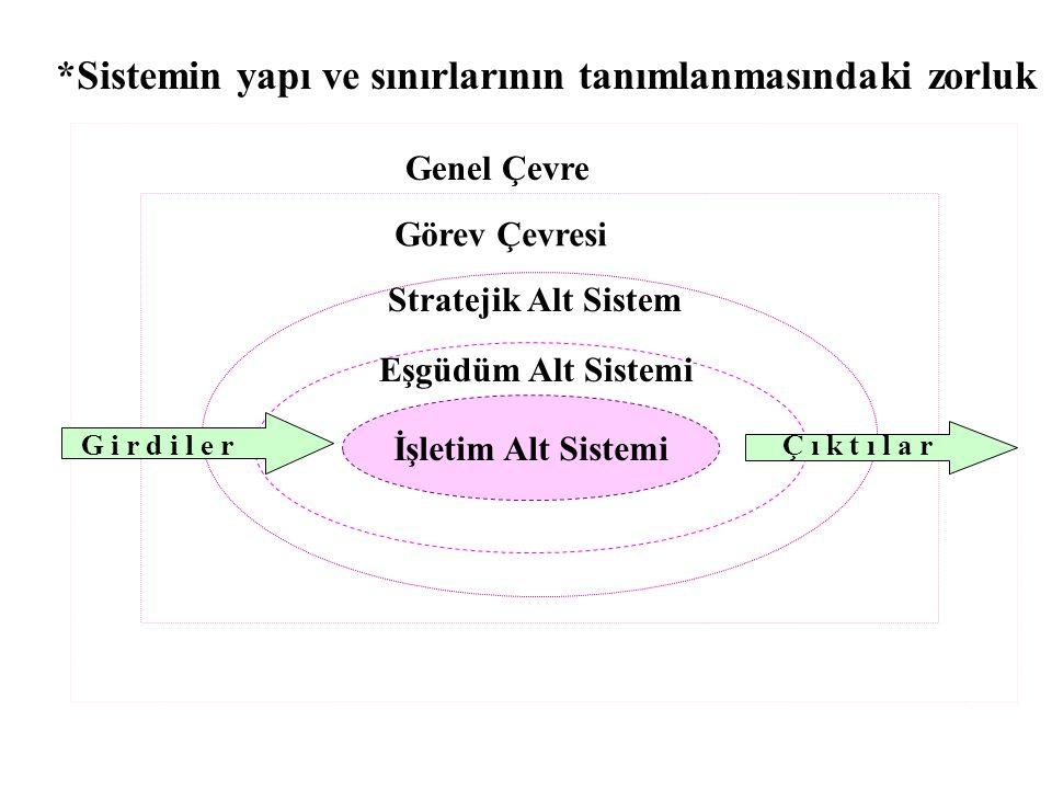 *Sistemin yapı ve sınırlarının tanımlanmasındaki zorluk İşletim Alt Sistemi Eşgüdüm Alt Sistemi Stratejik Alt Sistem Görev Çevresi Genel Çevre G i r d