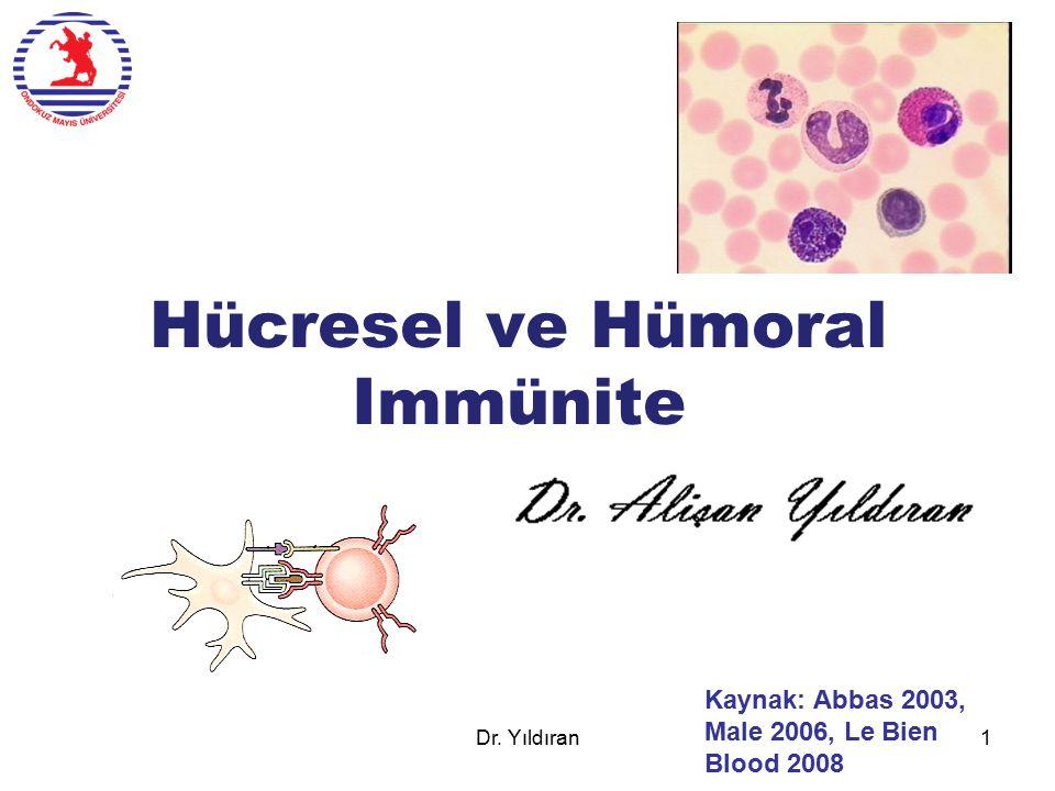 Hücresel ve Hümoral Immünite Kaynak: Abbas 2003, Male 2006, Le Bien Blood 2008 Dr. Yıldıran1