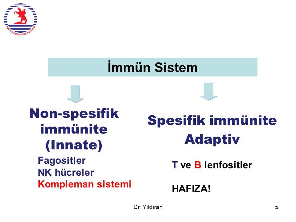 Non-spesifik immünite (Innate) Spesifik immünite Adaptiv İmmün Sistem T ve B lenfositler HAFIZA! Fagositler NK hücreler Kompleman sistemi Dr. Yıldıran