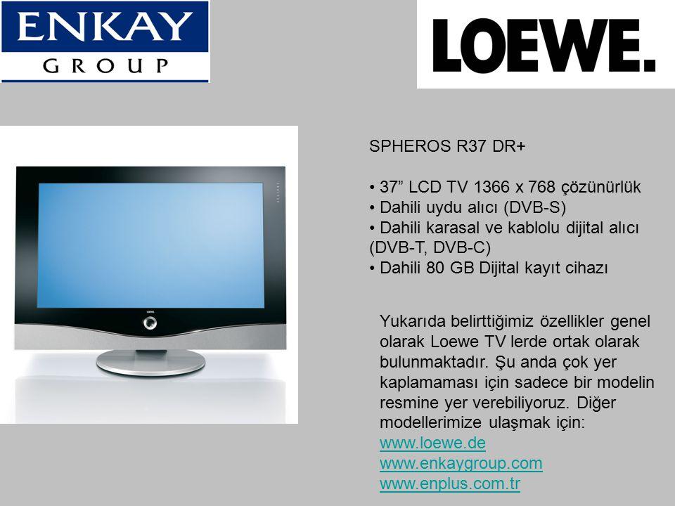 """SPHEROS R37 DR+ 37"""" LCD TV 1366 x 768 çözünürlük Dahili uydu alıcı (DVB-S) Dahili karasal ve kablolu dijital alıcı (DVB-T, DVB-C) Dahili 80 GB Dijital"""