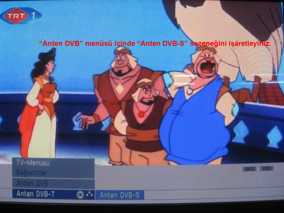 """""""Anten DVB"""" menüsü içinde """"Anten DVB-S"""" seçeneğini işaretleyiniz."""