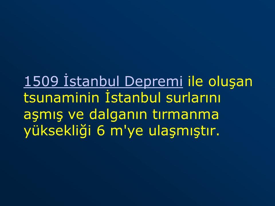 1509 İstanbul Depremi1509 İstanbul Depremi ile oluşan tsunaminin İstanbul surlarını aşmış ve dalganın tırmanma yüksekliği 6 m'ye ulaşmıştır.