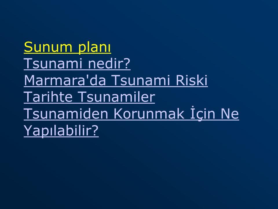 Sunum planı Tsunami nedir? Marmara'da Tsunami Riski Tarihte Tsunamiler Tsunamiden Korunmak İçin Ne Yapılabilir? Tsunami nedir? Marmara'da Tsunami Risk