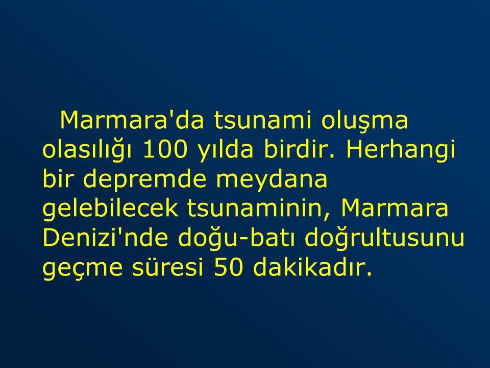 Marmara'da tsunami oluşma olasılığı 100 yılda birdir. Herhangi bir depremde meydana gelebilecek tsunaminin, Marmara Denizi'nde doğu-batı doğrultusunu