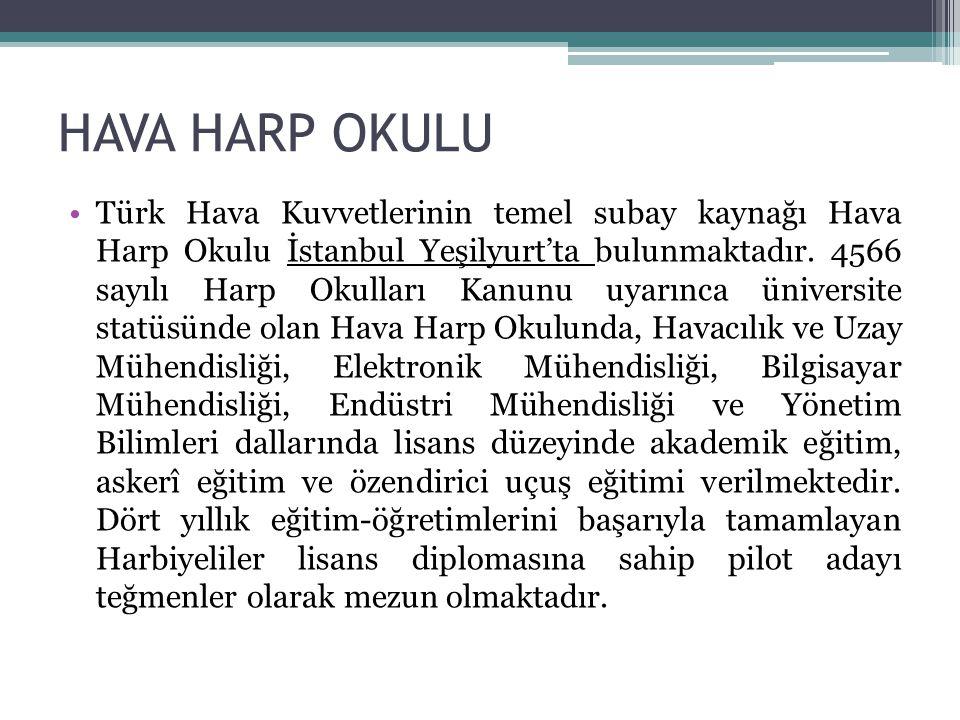 HAVA HARP OKULU Türk Hava Kuvvetlerinin temel subay kaynağı Hava Harp Okulu İstanbul Yeşilyurt'ta bulunmaktadır. 4566 sayılı Harp Okulları Kanunu uyar