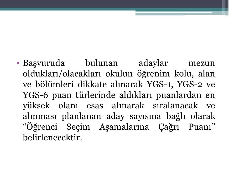 Başvuruda bulunan adaylar mezun oldukları/olacakları okulun öğrenim kolu, alan ve bölümleri dikkate alınarak YGS-1, YGS-2 ve YGS-6 puan türlerinde ald