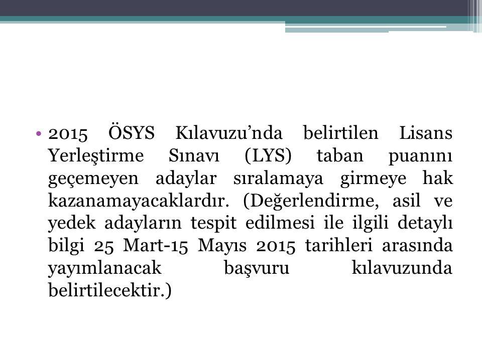 2015 ÖSYS Kılavuzu'nda belirtilen Lisans Yerleştirme Sınavı (LYS) taban puanını geçemeyen adaylar sıralamaya girmeye hak kazanamayacaklardır. (Değerle
