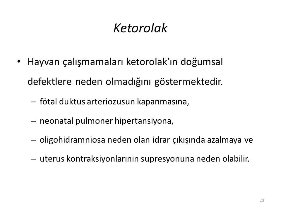 Ketorolak Hayvan çalışmamaları ketorolak'ın doğumsal defektlere neden olmadığını göstermektedir. – fötal duktus arteriozusun kapanmasına, – neonatal p
