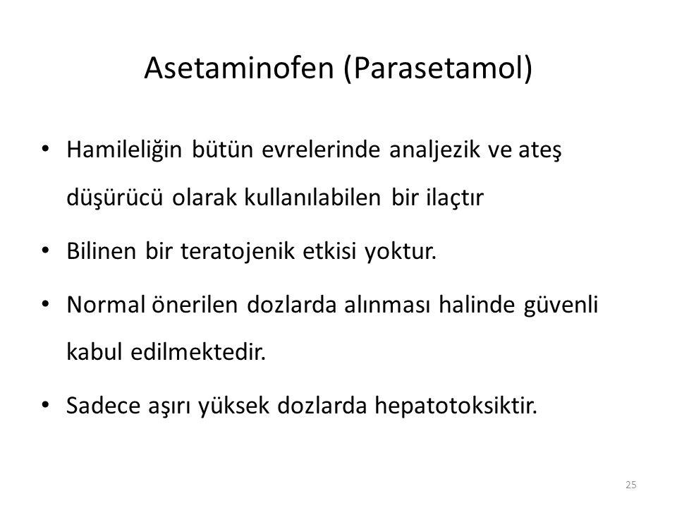 Asetaminofen (Parasetamol) Hamileliğin bütün evrelerinde analjezik ve ateş düşürücü olarak kullanılabilen bir ilaçtır Bilinen bir teratojenik etkisi y