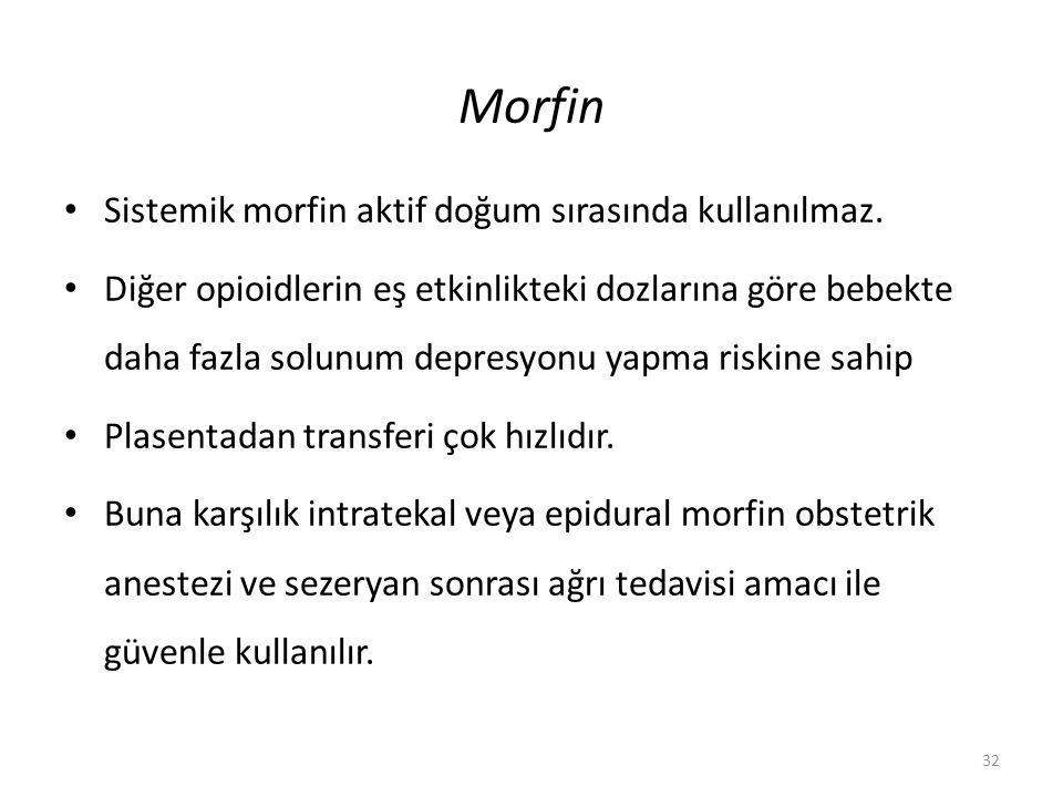Morfin Sistemik morfin aktif doğum sırasında kullanılmaz. Diğer opioidlerin eş etkinlikteki dozlarına göre bebekte daha fazla solunum depresyonu yapma