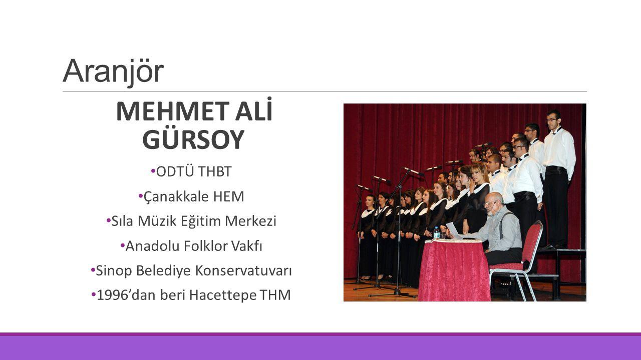 Aranjör MEHMET ALİ GÜRSOY ODTÜ THBT Çanakkale HEM Sıla Müzik Eğitim Merkezi Anadolu Folklor Vakfı Sinop Belediye Konservatuvarı 1996'dan beri Hacettep