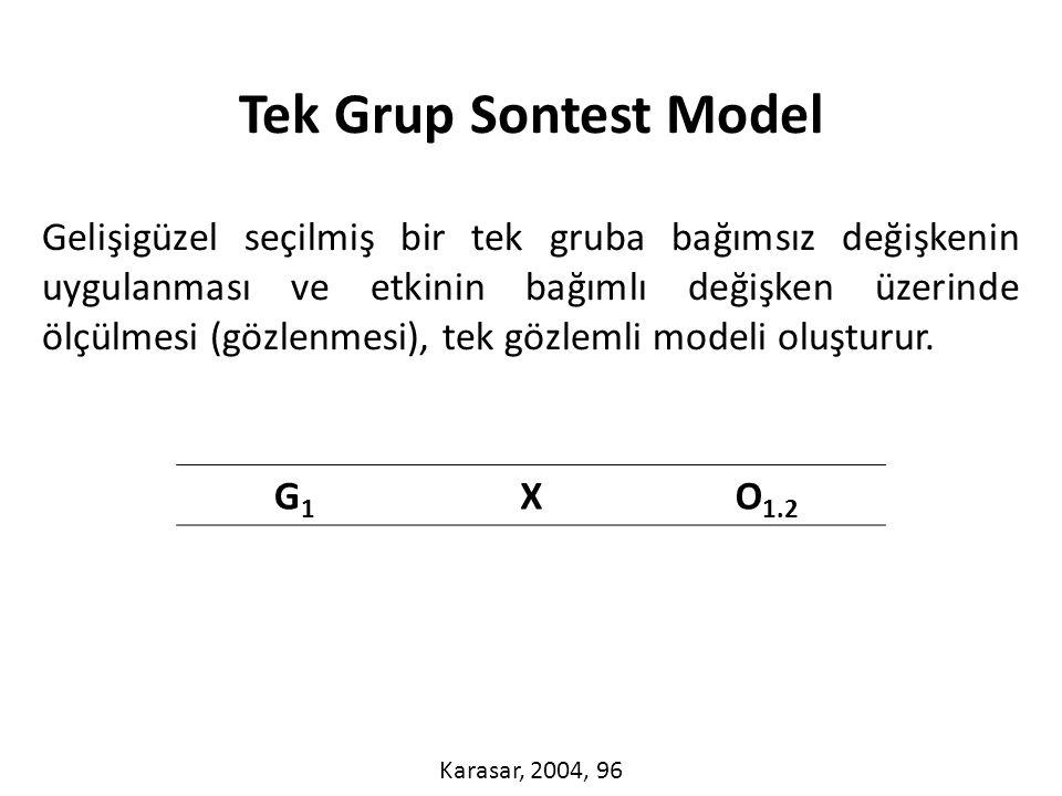 Gelişigüzel seçilmiş bir tek gruba bağımsız değişkenin uygulanması ve etkinin bağımlı değişken üzerinde ölçülmesi (gözlenmesi), tek gözlemli modeli oluşturur.