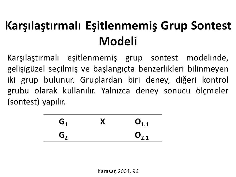Karşılaştırmalı eşitlenmemiş grup sontest modelinde, gelişigüzel seçilmiş ve başlangıçta benzerlikleri bilinmeyen iki grup bulunur.