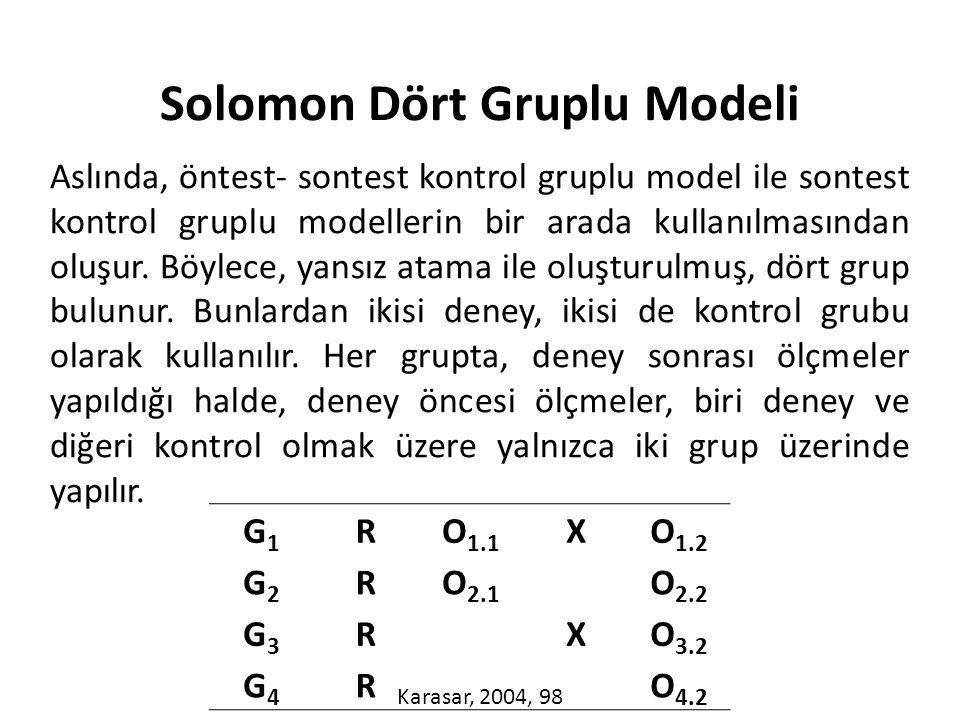 Aslında, öntest- sontest kontrol gruplu model ile sontest kontrol gruplu modellerin bir arada kullanılmasından oluşur.