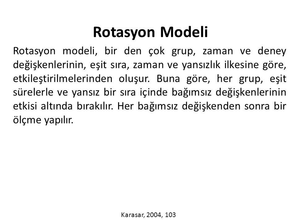 Rotasyon modeli, bir den çok grup, zaman ve deney değişkenlerinin, eşit sıra, zaman ve yansızlık ilkesine göre, etkileştirilmelerinden oluşur.