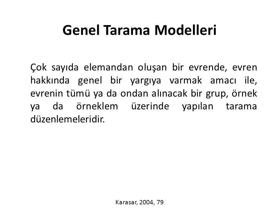 Genel tarama modelleri ile tekil ya da ilişkisel taramalar yapılabilir.