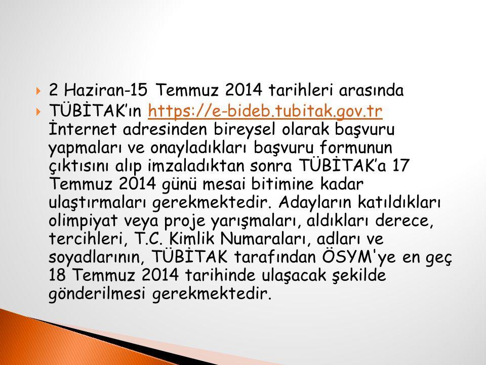  2 Haziran-15 Temmuz 2014 tarihleri arasında  TÜBİTAK'ın https://e-bideb.tubitak.gov.tr İnternet adresinden bireysel olarak başvuru yapmaları ve onayladıkları başvuru formunun çıktısını alıp imzaladıktan sonra TÜBİTAK'a 17 Temmuz 2014 günü mesai bitimine kadar ulaştırmaları gerekmektedir.