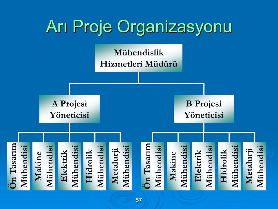 Arı Proje Organizasyonu Mühendislik Hizmetleri Müdürü A Projesi Yöneticisi B Projesi Yöneticisi Ön Tasarım Mühendisi Makine Mühendisi Elektrik Mühendisi Hidrolik Mühendisi Ön Tasarım Mühendisi Makine Mühendisi Elektrik Mühendisi Hidrolik Mühendisi Metalurji Mühendisi 57