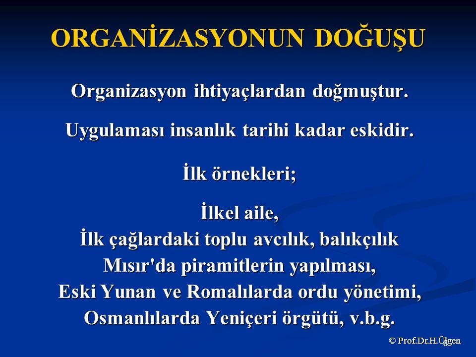 ORGANİZASYONUN DOĞUŞU Organizasyon ihtiyaçlardan doğmuştur.