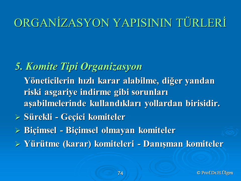 ORGANİZASYON YAPISININ TÜRLERİ 5.