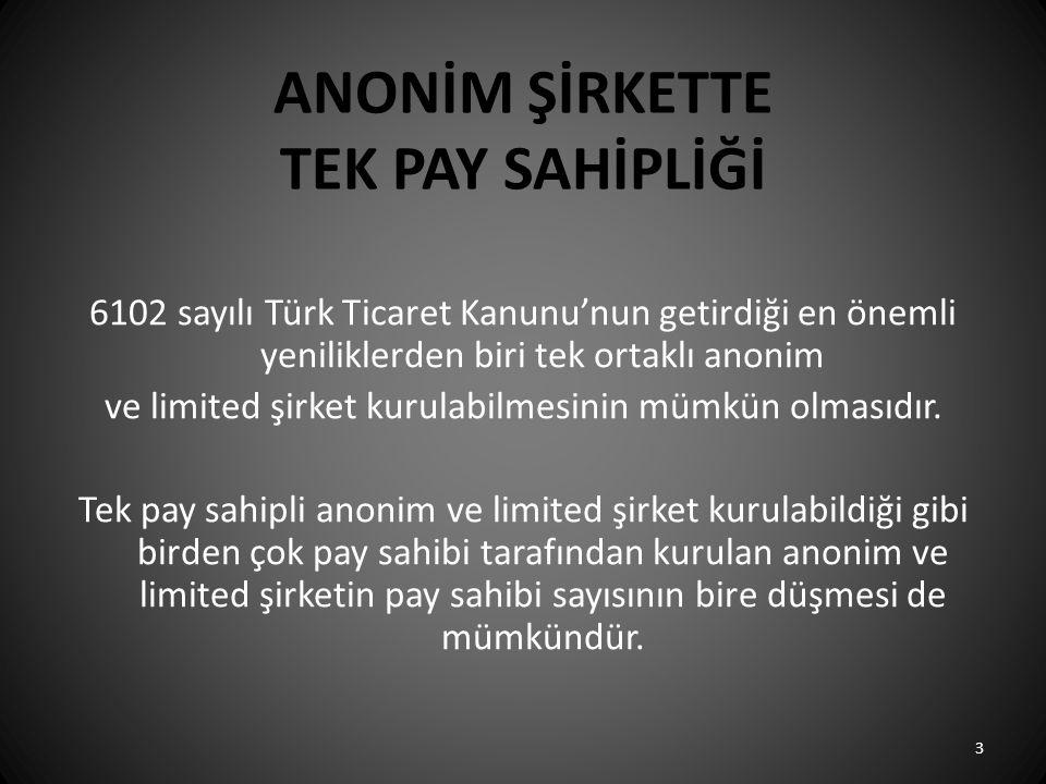 ANONİM ŞİRKETTE TEK PAY SAHİPLİĞİ 6102 sayılı Türk Ticaret Kanunu'nun getirdiği en önemli yeniliklerden biri tek ortaklı anonim ve limited şirket kuru