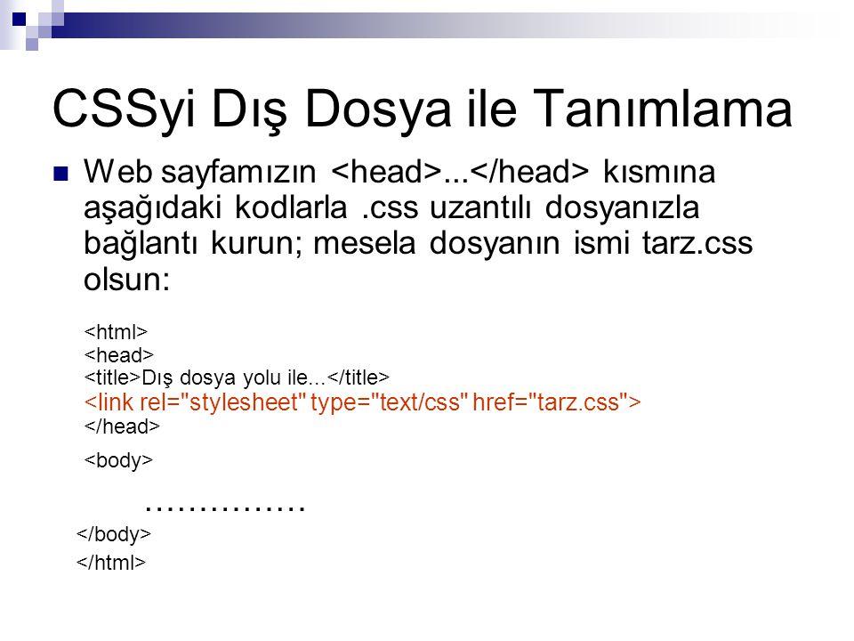 CSSyi Dış Dosya ile Tanımlama Web sayfamızın...