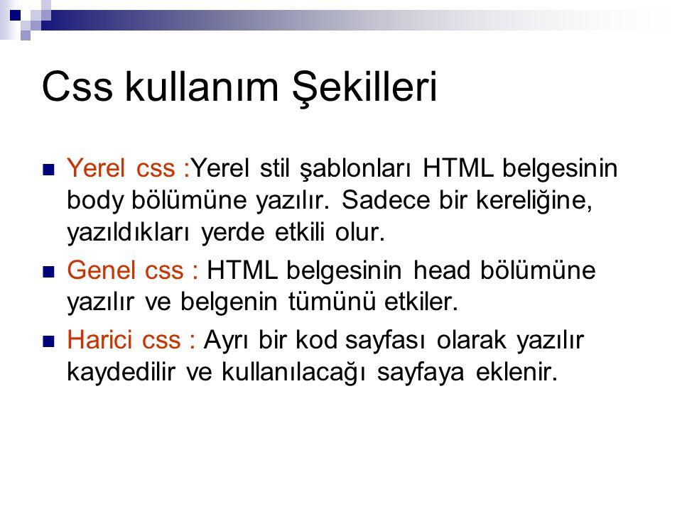 Css kullanım Şekilleri Yerel css :Yerel stil şablonları HTML belgesinin body bölümüne yazılır.