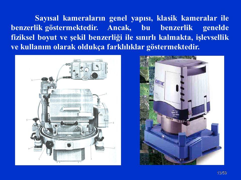 13/59 Sayısal kameraların genel yapısı, klasik kameralar ile benzerlik göstermektedir. Ancak, bu benzerlik genelde fiziksel boyut ve şekil benzerliği