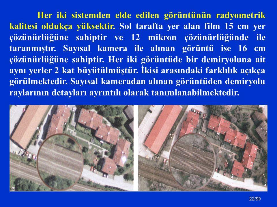 22/59 Her iki sistemden elde edilen görüntünün radyometrik kalitesi oldukça yüksektir. Sol tarafta yer alan film 15 cm yer çözünürlüğüne sahiptir ve 1