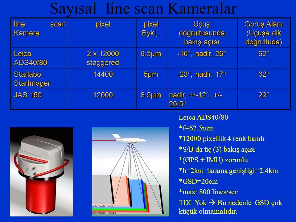 Sayısal line scan Kameralar Leica ADS40/80 *f=62.5mm *12000 pixellik 4 renk bandı *S/B da üç (3) bakış açısı *(GPS + IMU) zorunlu *h=2km tarama genişl