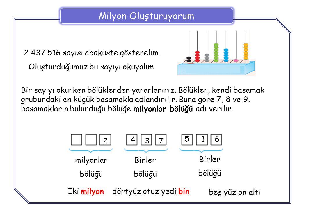 B İ LG İ Doğal sayıların yazılışını ve okunuşunu kolaylaştırmak için, sayı sağdan sola doğru üçerli gruplara ayrılır.