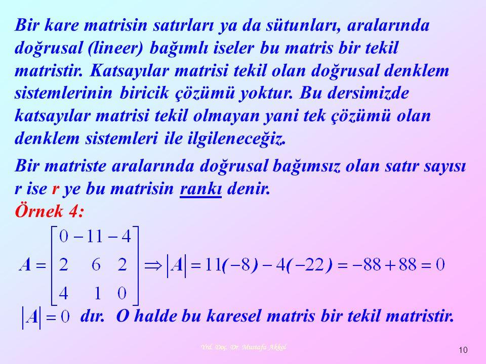 Yrd. Doç. Dr. Mustafa Akkol 10 Bir kare matrisin satırları ya da sütunları, aralarında doğrusal (lineer) bağımlı iseler bu matris bir tekil matristir.