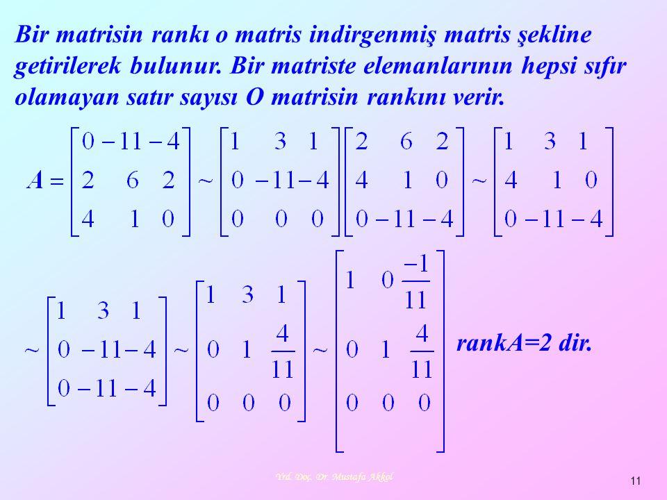 Yrd. Doç. Dr. Mustafa Akkol 11 Bir matrisin rankı o matris indirgenmiş matris şekline getirilerek bulunur. Bir matriste elemanlarının hepsi sıfır olam