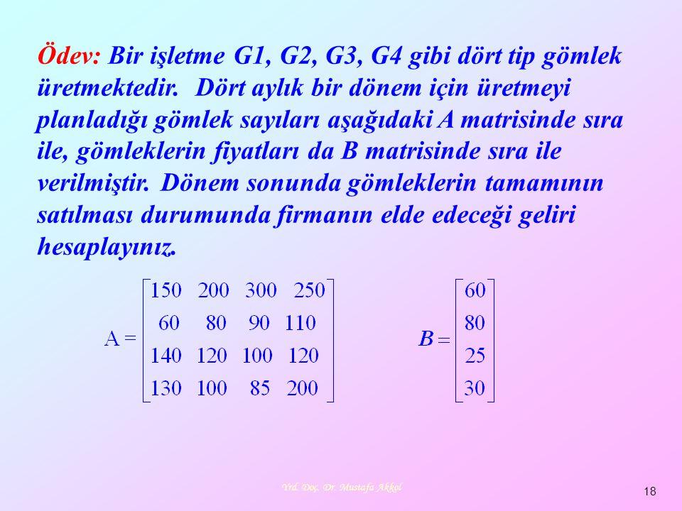 Yrd. Doç. Dr. Mustafa Akkol 18 Ödev: Bir işletme G1, G2, G3, G4 gibi dört tip gömlek üretmektedir. Dört aylık bir dönem için üretmeyi planladığı gömle