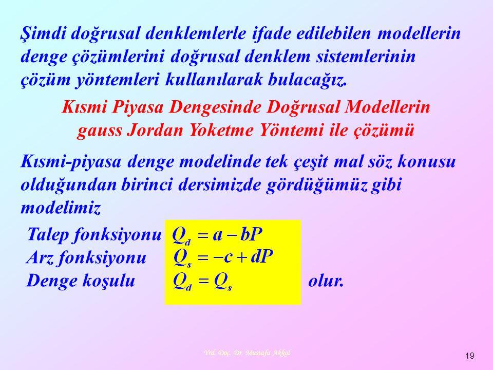 Yrd. Doç. Dr. Mustafa Akkol 19 Şimdi doğrusal denklemlerle ifade edilebilen modellerin denge çözümlerini doğrusal denklem sistemlerinin çözüm yöntemle