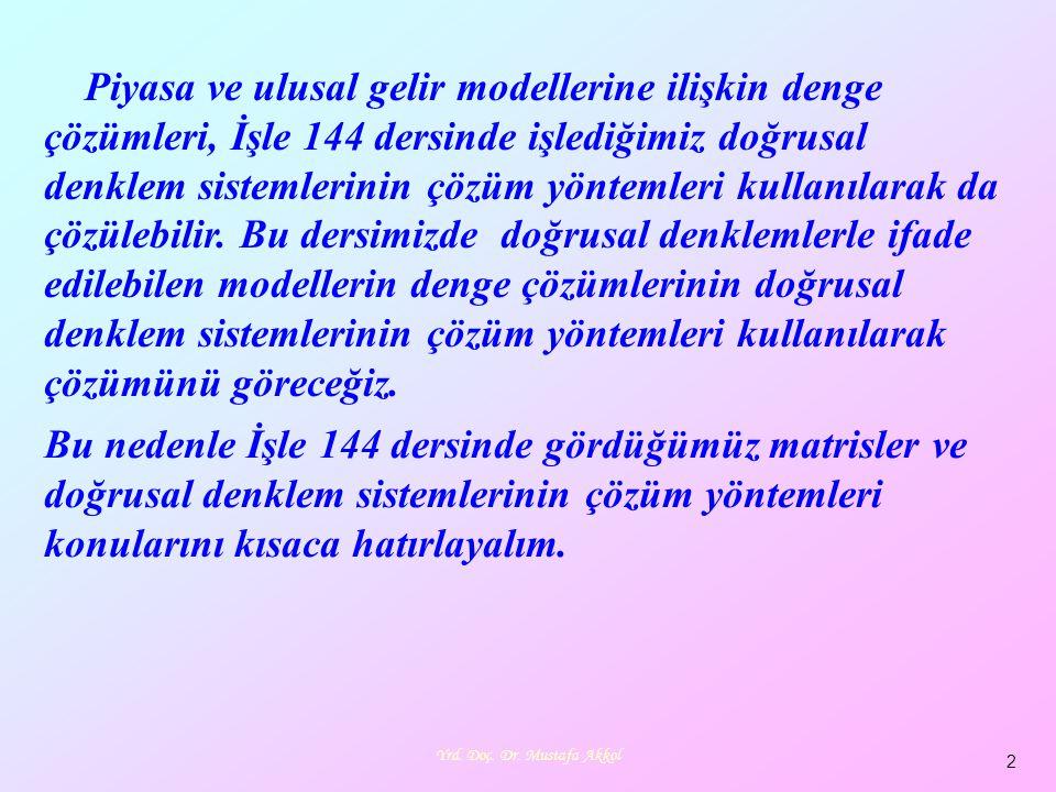 Yrd. Doç. Dr. Mustafa Akkol 2 Piyasa ve ulusal gelir modellerine ilişkin denge çözümleri, İşle 144 dersinde işlediğimiz doğrusal denklem sistemlerinin