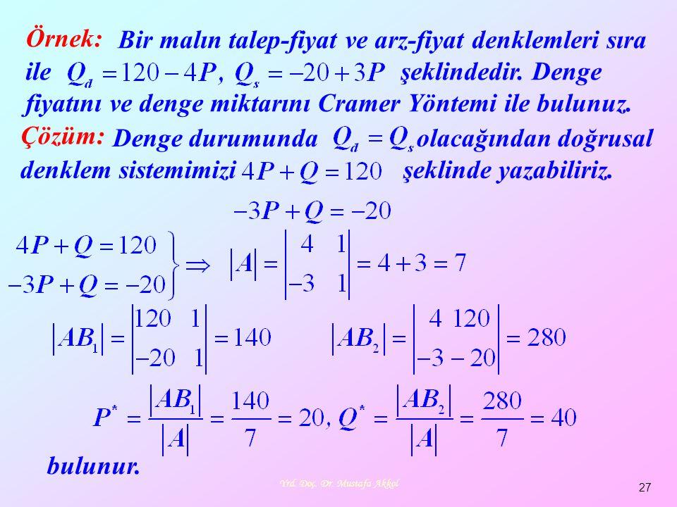 Yrd. Doç. Dr. Mustafa Akkol 27 Örnek: Bir malın talep-fiyat ve arz-fiyat denklemleri sıra ile şeklindedir. Denge fiyatını ve denge miktarını Cramer Yö