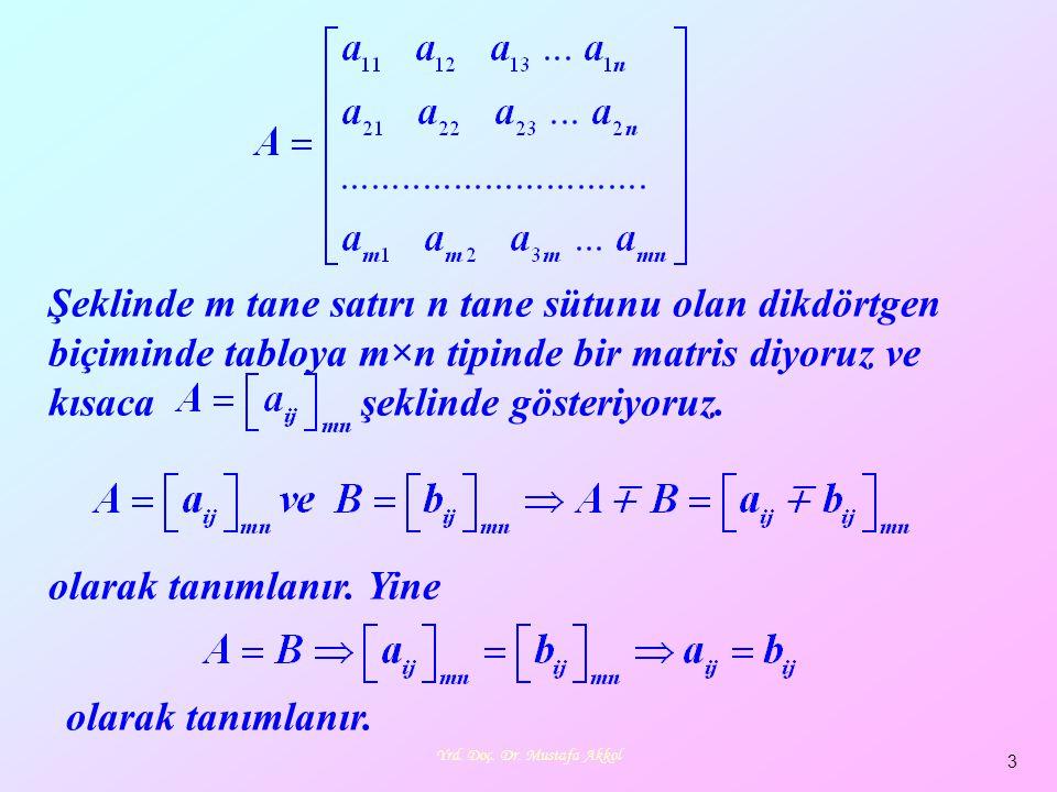 Yrd. Doç. Dr. Mustafa Akkol 3 Şeklinde m tane satırı n tane sütunu olan dikdörtgen biçiminde tabloya m×n tipinde bir matris diyoruz ve kısaca şeklinde