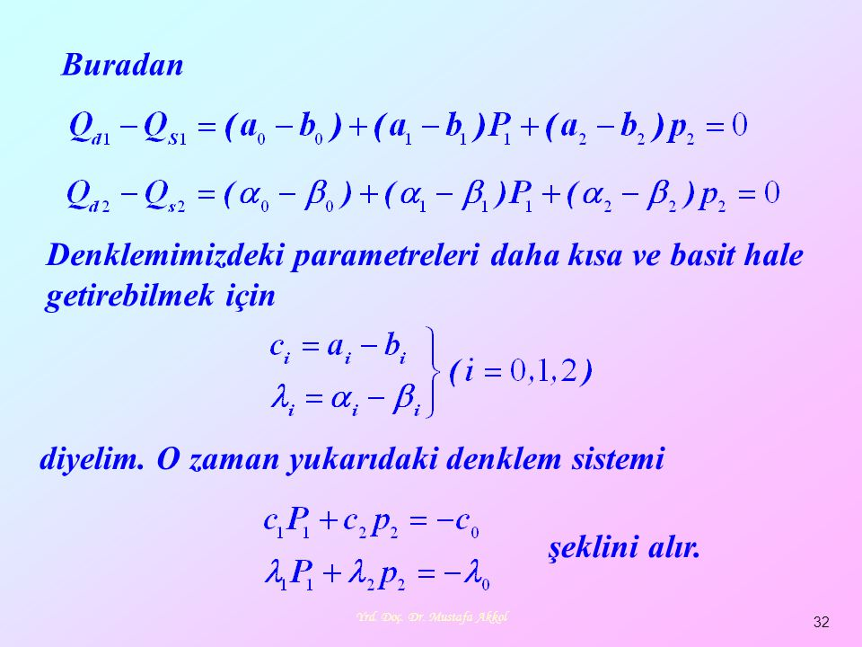Yrd. Doç. Dr. Mustafa Akkol 32 diyelim. O zaman yukarıdaki denklem sistemi şeklini alır. Buradan Denklemimizdeki parametreleri daha kısa ve basit hale